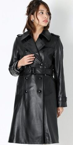 Leather Trench Coat Woman, Long Leather Coat, Leather Jacket, Rain Fashion, 70s Fashion, Pretty Outfits, Cool Outfits, Leder Outfits, Langer Mantel
