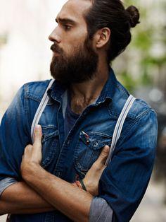 Denim and beard.