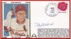 Stan Musial Hit Record Personally Autographed Commemorative Envelopes. We then print the history of the event on the envelope, next comes autograph, which we pay the player for each one, and finally come the full color silk cachet. This Is A Variation Envelope With Different Typeset From The First 1,000 We Printed. Gateway has combined the postmark in the city, on the date the event took place and because of the laws that govern their use, postmarks are the best way to mark a date...