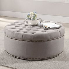 You'll love the way this Baxton Studio Inglehart ottoman brings style and sophistication to your home. Ottoman Decor, Upholstered Ottoman, 5 Piece Living Room, Bedroom Closet Design, Bedroom Decor, Round Ottoman, Baxton Studio, Formal Living Rooms, Tufting Buttons