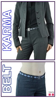 The Karma flat elastic belt comes in this fun black argyle print to add some pop to your outfit. $28.00 www.truthbelts.com