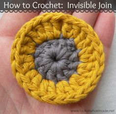 How to Crochet:  Invisible Join vs Slip Stitch Join  How to Crochet: Invisible Join vs Slip Stitch Join This is a step-by-step photo tutorial for making an invisible join when working in the round AND changing colours at the end of each round. Can you spot the join? What do you think? Pretty, or too much work?   http://www.lookatwhatimade.net/crafts/yarn/crochet/crochet-tutorials/crochet-invisible-join-vs-slip-stitch-join/