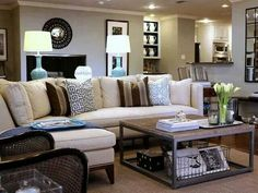 Family room decor. Coffee table. Wire basket. Sectional.