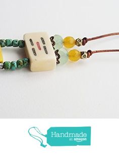 ART::WEAR Necklace by Cherie Lester, Vintage Mahjong, Green, Yellow, Czech Crystal, Stone & Beads on Genuine Leather Cord. from ART::WEAR Necklaces by Cherie Lester https://www.amazon.com/dp/B01MR72STT/ref=hnd_sw_r_pi_dp_nDtHybP98FT6C #handmadeatamazon