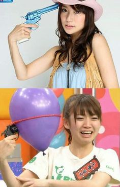AKB48 Oshima Yuko. Her reaction of balloon is kawaii!!!