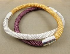 Beaded bracelet, beads crochet rope bracelet , beadwork jewelry , magnetic clasp bracelet, orange bracelet
