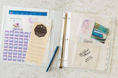 We've got lots of great ideas for a DIY personalized wedding planner. We made this one using an Avery Mini Binder and accessories to keep all your wedding plans organized. Even better, you can personalize the cover to make it match your wedding theme or personality. Easy to slip in your purse or tote to take to meetings, fittings and more.