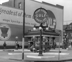 Gulf gas station in East Liberty, Pa in the 1920's..