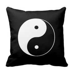 Black and White Yin Yang Throw Pillow with Black Background