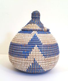 Vintage Handwoven African Basket Blue and by theestateofthings