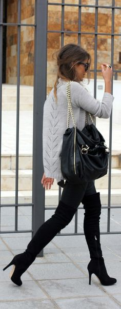thigh high boots, grey knit top with a leather black chain bag