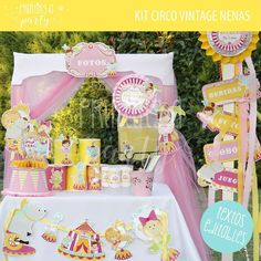 Pink and yellow circus birthday party! See more party ideas at CatchMyParty.com!
