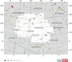 Alpha Pegasi (α Peg, α Pegasi) is the third brightest star in the constellation Pegasus and one of the four stars in the asterism known as the Great Square of Pegasus.  Diagram showing star positions and boundaries of the Pegasus constellation and its surroundings. en.wikipedia.org