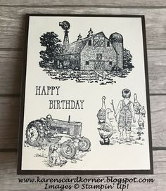 Stampin' Up! Heartland and Let It Ride Masculine Card Set Masculine Birthday Cards, Birthday Cards For Men, Handmade Birthday Cards, Masculine Cards, Greeting Cards Handmade, Male Birthday, 123 Cards, Men's Cards, Baby Cards