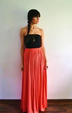 Maxi jupe longue rose corail - ALIZEE 3
