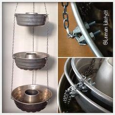 DIY herb pot/ampel from old cake tins by LeenaH Diy Craft Projects, Diy And Crafts, Retro Crafts, Shabby Chic Style, Rustic Design, Boho Decor, Diy Home Decor, Restaurant, Outdoor Decor