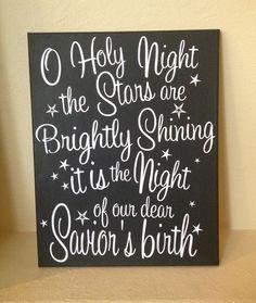 O Holy Night 11x14 Painted Canvas Christmas Wall Art. $30.00, via Etsy.