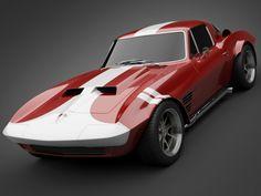 1965 GrandSport Corvette 3D rendering