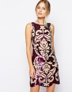 1920s style flapper or great gatsby dress: Frock and Frill Embellished Mini Dress with Scallop Hem - Nude/purple