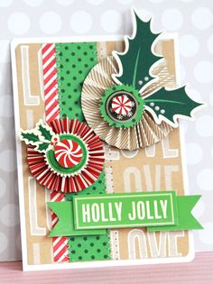Holly Jolly card - by Michiko Kato using the Kringle & Co collection from American Crafts. #scrapbooking #christmas #cards #cardmaking