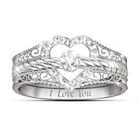 Diamonesk Personalized Engagement Ring And Wedding Band Set