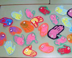peces con pintura de dedos