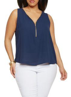 Plus Size Sleeveless Zip V Neck Top,NAVY  (ECLIPSE),large