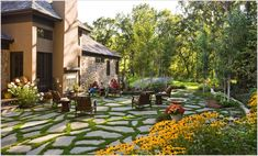 -plants-grass-lawn-mass-plantings-outdoor-fireplace-Patio-patio ...