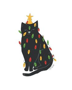 christmas illustration What a lovely - weihnachten Merry Little Christmas, Christmas Cats, Winter Christmas, Christmas Trees, Christmas Cookies, Story Instagram, Art And Illustration, Christmas Illustration Design, Cat Illustrations