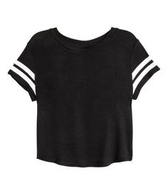 Black/striped. Short T-shirt in soft, ribbed viscose jersey with a sheen…