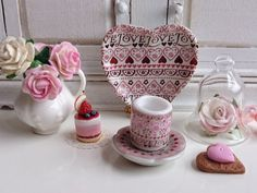 Vintage Love Coffee Mug and Plate for by Twelvetimesmoreteeny, €2.80