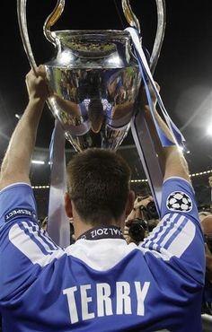 19 May 2012: JOHN TERRY lifts the Champions League trophy aloft after the Chelsea win over Bayern Munich...