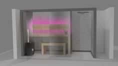 Sauna Perfect Line z prysznicem - wizualizacja. Flat Screen, Spa, Home, Design, Blood Plasma, Ad Home, Flatscreen, Homes