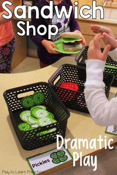 Make sandwiches and subs at this adorable Sandwich Shop Dramatic Play Center! Perfect for preschoolers or any early childhood education classroom. via @PlayToLearnPS