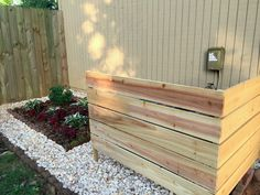 Using just some cedar and some handy outdoor glue, I created an easy DIY screen to hide my air conditioning unit on the side of the house Air Conditioner Cover Outdoor, Air Conditioner Screen, Air Conditioning Units, Outdoor Living, Outdoor Decor, Outdoor Ideas, Outdoor Spaces, Raised Garden Beds, Backyard Landscaping