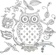 Free owl embroidery pattern -  I dont embroider, but I like this picture, will figure out something to do with it. :-)