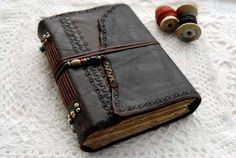 The Days of Yore - Large Rustic Leather Journal, Handbound, Dark Brown Leather, Tea Stained Pages, Mixed Beads, OOAK