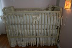 White and ecru crib bedding