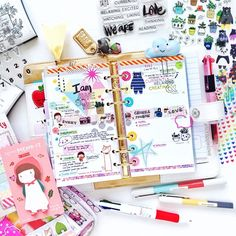 scrappinlove: Look at all the colors! Playing dressing up in my @websterspages Color Crush Classic White planner with my May stationery kit and awesome stamps from @giveagirlablog.