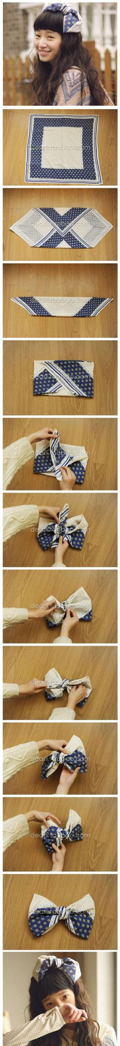 Tie a Square Scarf into a Large Bow - A creative why to gift a scarf on top of wrapped package...