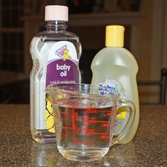 Make-up remover.... I made this and love it... The baby oil is minimal and its not at all greasy