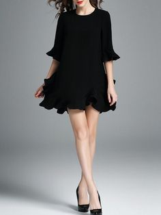 Black Half Sleeve Plain Mini Dress -- wear this as a top over very loose-fitting or wide black or white pants. Wld look great. Casual Formal Dresses, Dressy Outfits, Half Sleeve Dresses, Mini Dress With Sleeves, Little Dresses, Mini Dresses, Short Dresses, Ball Dresses, Prom Dresses