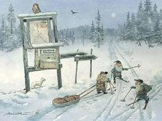 Bilderesultat for julekort Norwegian Christmas, Scandi Christmas, Vintage Christmas, Christmas Illustration, Illustration Art, Baumgarten, Scandinavian Art, Woodland Creatures, Old Art