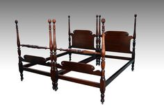 SOLD Pair of High Quality Twin Pineapple Beds- Rice Carved - Maine Antique Furniture