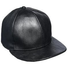 ASOS Faux Leather Cap (48 BRL) ❤ liked on Polyvore featuring accessories, hats, sapka, panel hats, crown cap hats, faux leather hat, snap back hats and wide hat