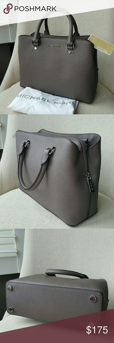 """Michael Kors Savannah satchel cinder grey bag MK Brand new in factory plastic medium Savannah saffiano leather satchel in cinder grey color and silver-tone hardware.  Dimensions: 8.25"""" H x 11.5"""" L x 4.5"""" D Strap drop 4.75""""   Comes with dust bag   (Detailed description and more pictures will be added soon)   No trades   PRICE IS FIRM Michael Kors Bags Satchels"""