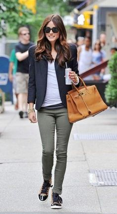 Olivia Palermo - It's fun to wear sneakers with the blazer.