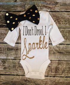 Baby Girl Onesie, I Don't Drool, I Sparkle Onesie For Baby Girls, Glitter Onesies
