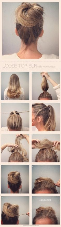 Loose top bun with microbraids.