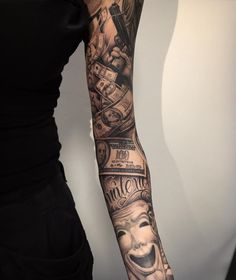 Chicano Full Sleeve Tattoo by Andy Blanco Chicano Tattoos Sleeve, Tatuajes Tattoos, Arm Sleeve Tattoos, Arm Tattoo, Body Art Tattoos, Hand Tattoos, Girl Tattoos, Tattoos For Guys, Tattoos For Women